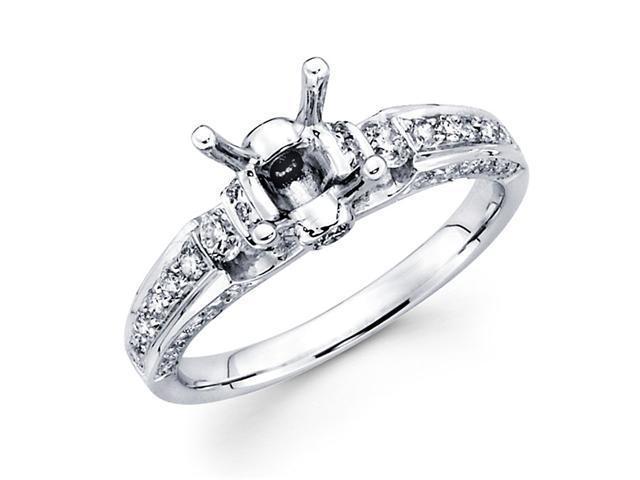 Semi Mount Diamond Engagement Ring 18k White Gold Pave Setting (2/3ct)