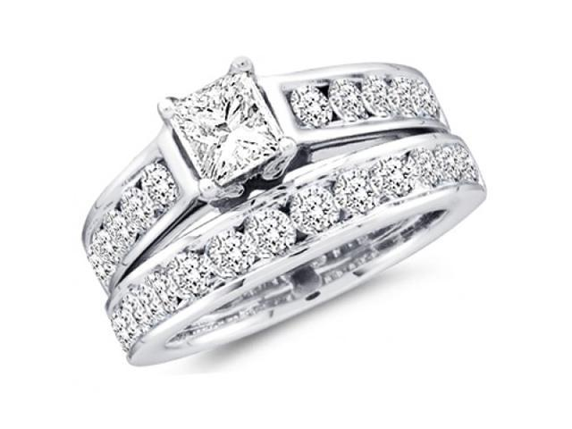 Diamond Engagement Ring and Wedding Band Bridal Set White Gold 1.00 ct