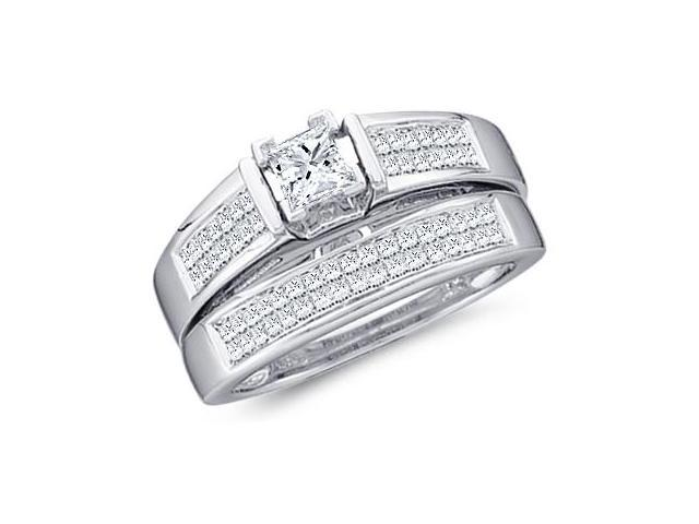 Diamond Engagement and Wedding Rings Set 14k White Gold (1.00 Carat)