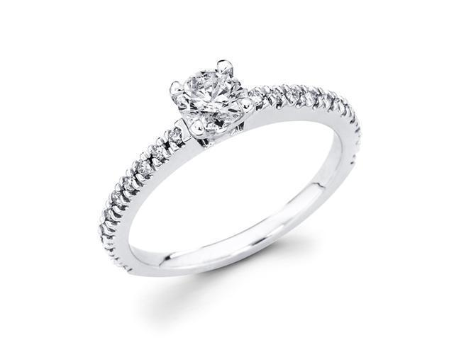 Engagement Diamond Ring 14k White Gold Bridal Anniversary (5/8 Carat)