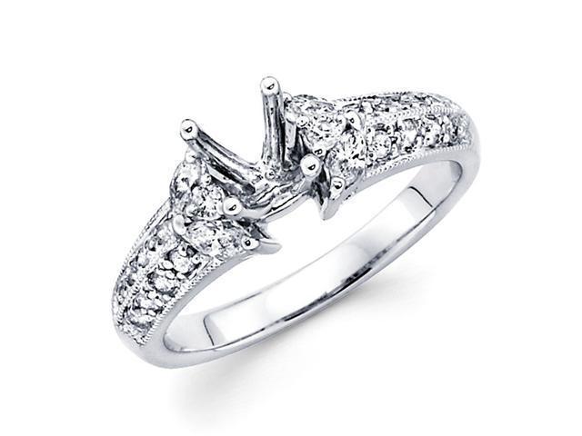 Semi Mount Marquise Diamond Engagement Ring 18k White Gold (0.57 CTW)