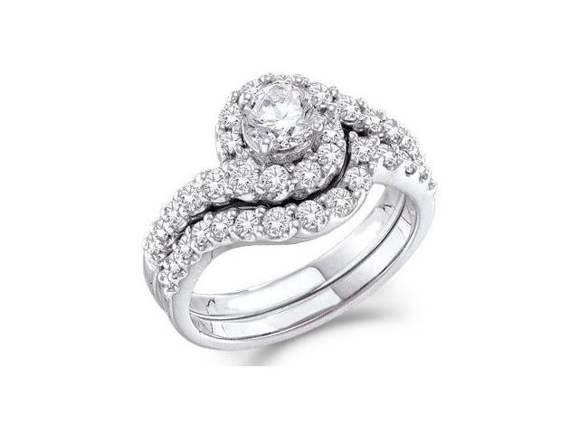 Diamond Engagement Ring Bridal Wedding Set 14k White Gold (1.44 Carat)
