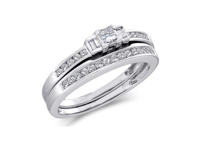 Diamond Engagement Rings Set Wedding Band 10k White Gold (0.45 Carat)