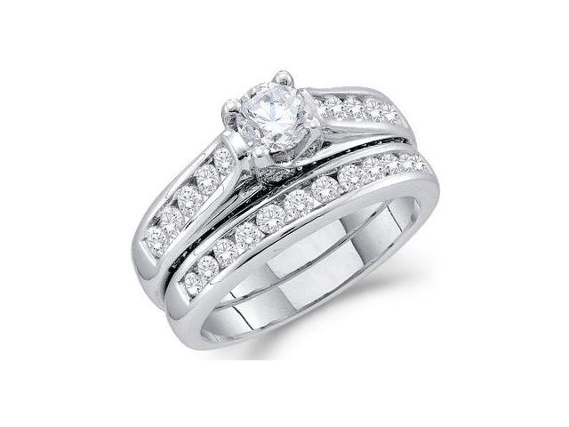 Diamond Engagement Ring Bridal Wedding Set 14k White Gold (1.43 Carat)