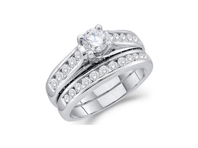 Diamond Engagement Ring Bridal Wedding Set 14k White Gold (1.43 Carat)