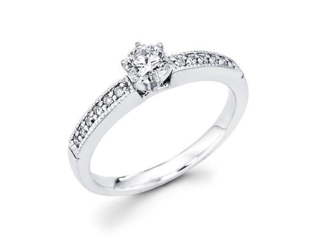 Diamond Engagement Ring 14k White Gold Bridal Round (3/8 Carat)