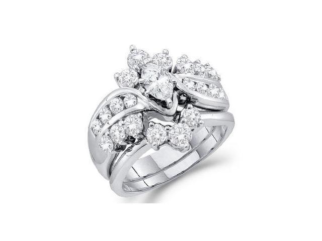 Marquise Diamond Engagement Ring Set Bridal 14k White Gold (1.99 CT)
