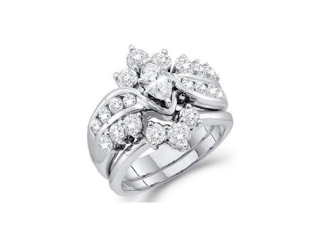 Marquise Diamond Engagement Ring Set Bridal 14k White Gold (1.99 CT)