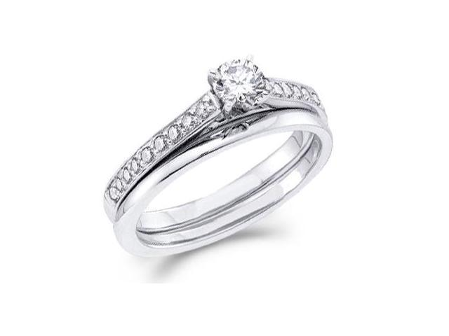 Diamond Engagement Ring & Wedding Band Set 14k White Gold (1/2 Carat)