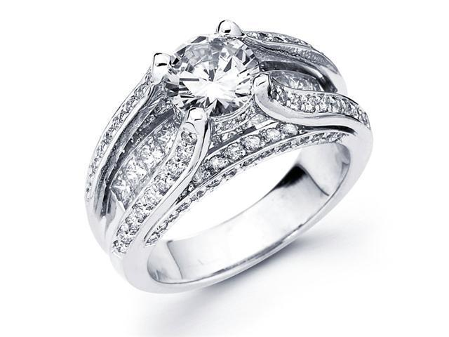 Semi Mount Diamond Engagement Ring 14k White Gold Pave Setting 1.82 CT