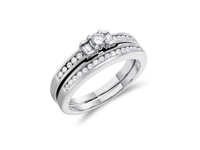 Three Stone Diamond Engagement Rings Set Band 10k White Gold (0.44 CT)