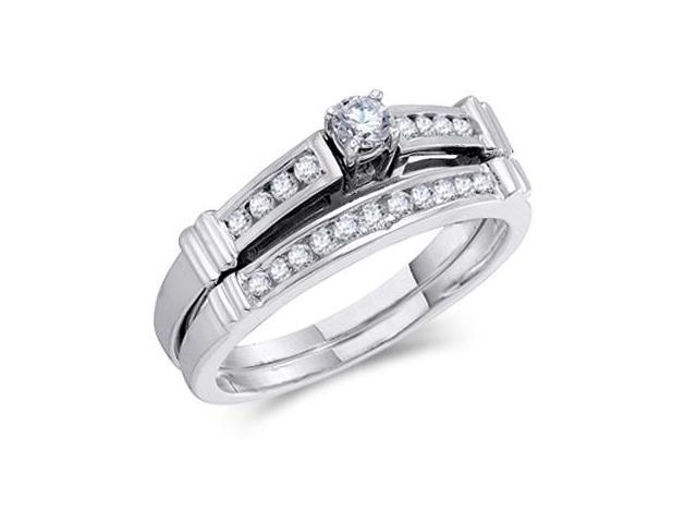 Diamond Engagement Rings Set Wedding Band 14k White Gold (1/3 Carat)
