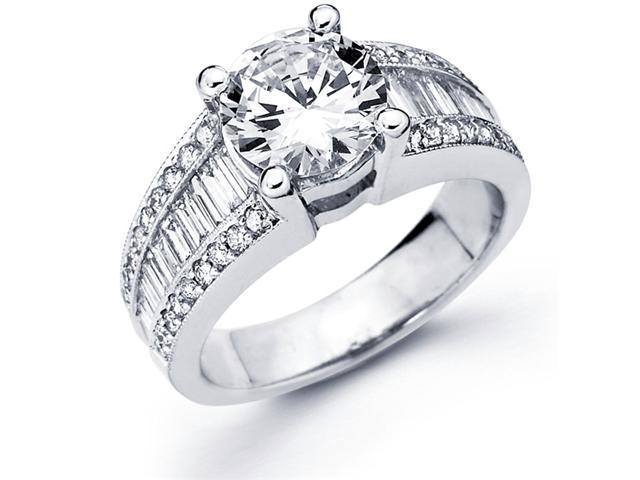 Semi Mount Diamond Ring 14k White Gold Graduated Channel Pave Setting