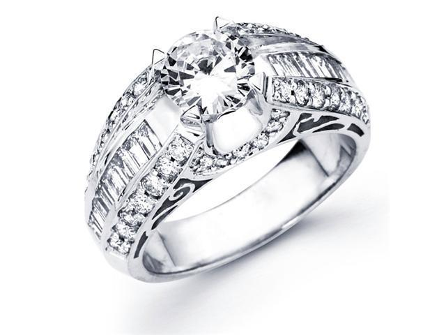 Semi Mount Diamond Engagement Ring 14k White Gold Pave Setting 1.04 CT