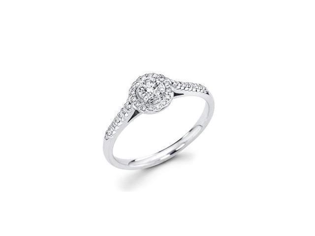 Round Diamond Engagement Ring 14k White Gold Ladies Bridal (1/3 Carat)