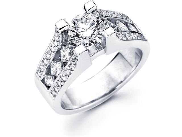 Semi Mount Diamond Ring 14k White Gold Princess Channel Round Pave Set