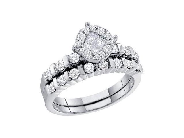 Diamond Engagement Ring Wedding Set 14k White Gold Bridal (0.93 Carat)
