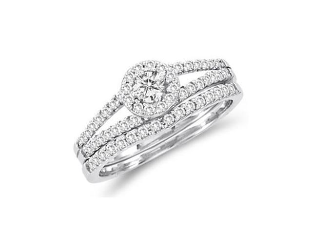 Diamond Engagement Ring Set Wedding Band 14k White Gold Bridal (2/3ct)