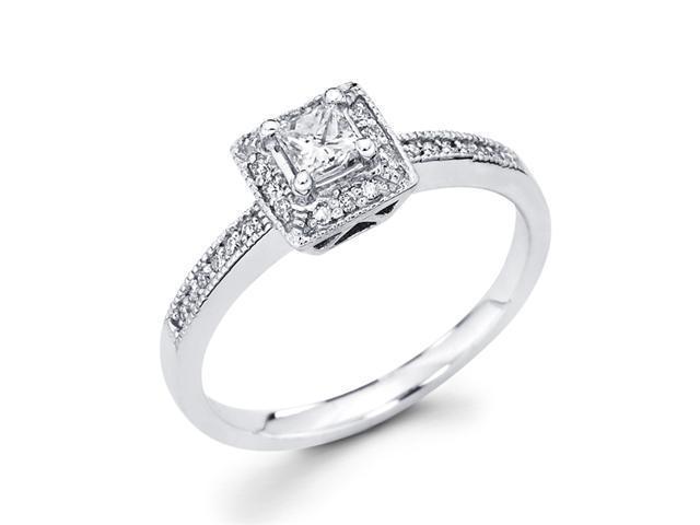 Ladies Princess Diamond Engagement Ring 14k White Gold (1/3 Carat)