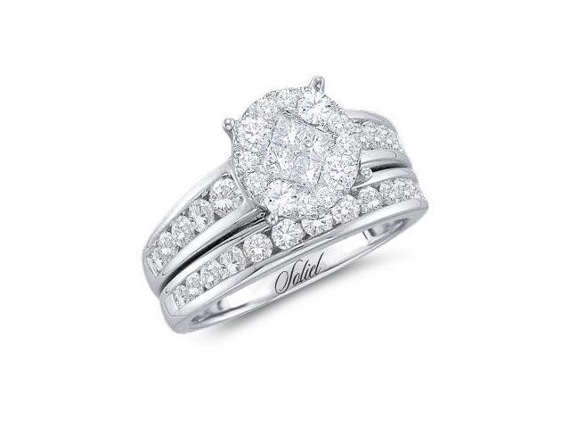 Diamond Engagement Ring Bridal Wedding Set 14k White Gold (1.40 Carat)