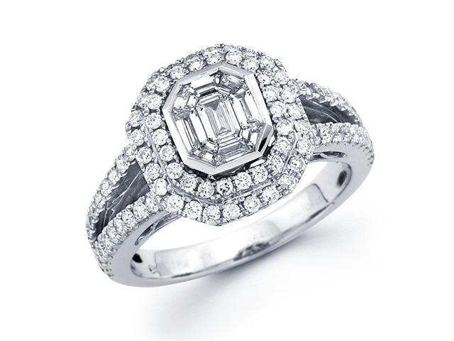 Diamond Engagement Ring 18k White Gold Pave Setting (1.30 Carat)