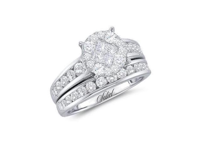 Diamond Engagement Ring Bridal Wedding Set 14k White Gold (1.40 Carat)