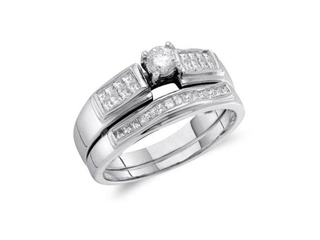 Diamond Engagement Rings Set Bridal Wedding 14k White Gold (1/2 Carat)