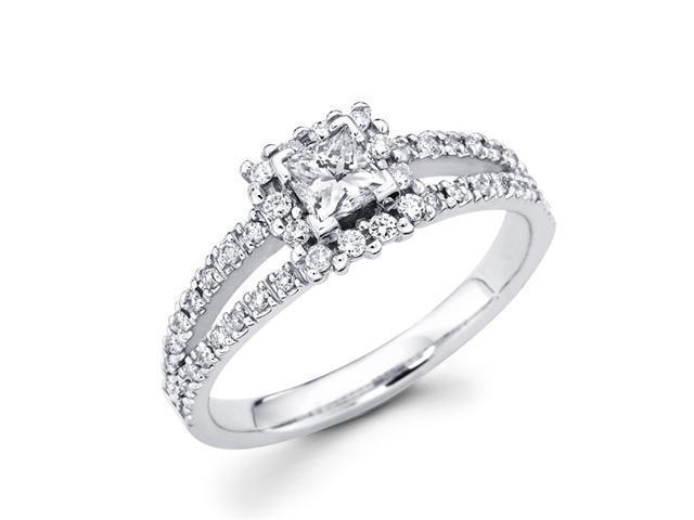 Princess Diamond Engagement Ring Bridal 14k White Gold (3/4 Carat)