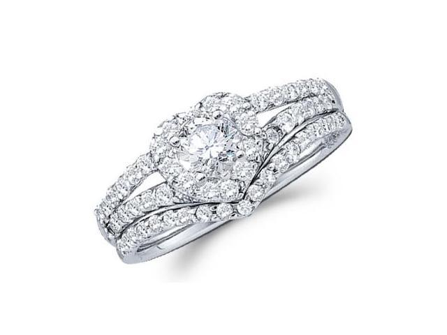 Heart Diamond Engagement Ring Wedding Bridal Set 14k White Gold 3/4 CT