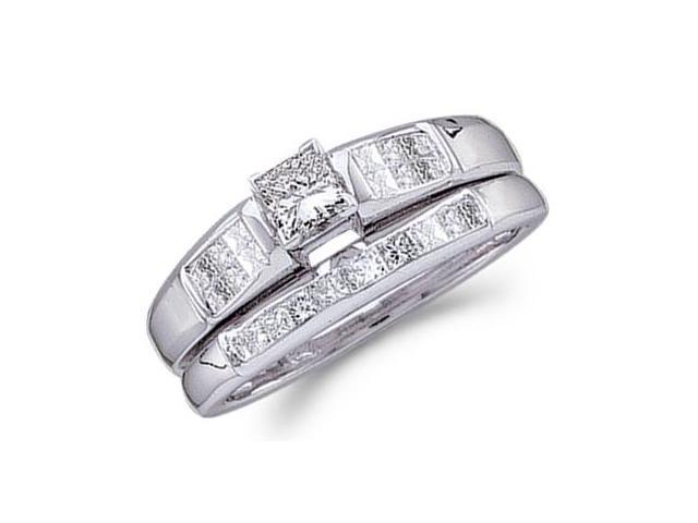 Princess Diamond Engagement Ring Wedding Set 14k White Gold (0.46 CT)