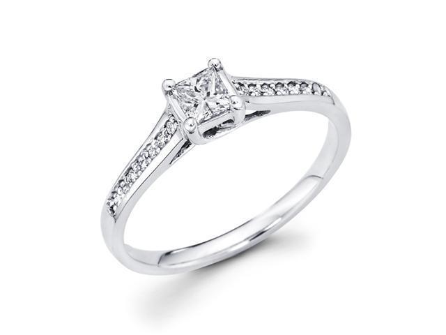 Princess Diamond Engagement Ring 14k White Gold Bridal (1/3 Carat)