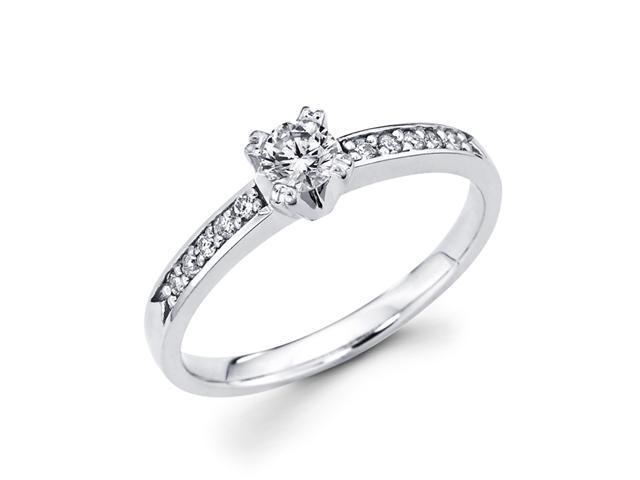 Round Diamond Engagement Ring 14k White Gold Bridal (1/3 Carat)