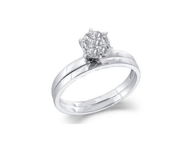 Diamond Engagement Ring Wedding Set 14k White Gold Bridal (0.10 Carat)