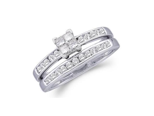 Diamond Engagement Ring Wedding Set 14k White Gold Bridal (1/2 Carat)
