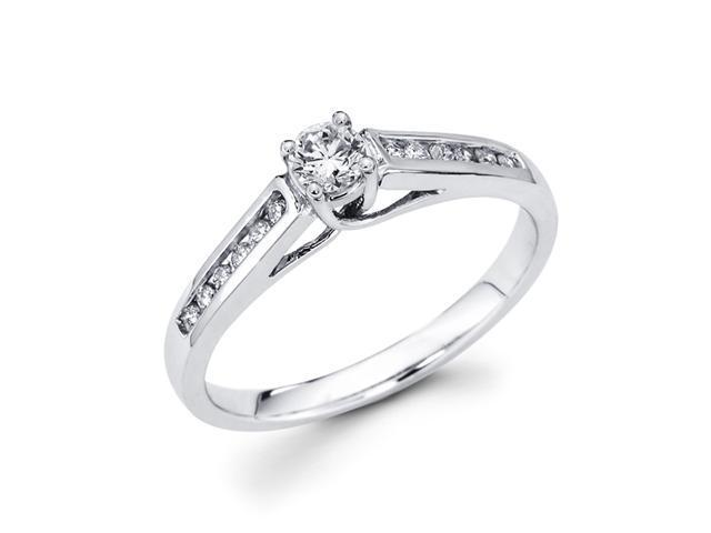 Round Diamond Engagement Ring Sidestones 14k White Gold (1/3 Carat)