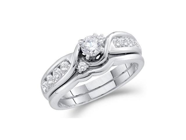 Diamond Engagement Ring Wedding Set 14k White Gold Bridal (3/4 Carat)