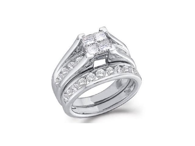 Diamond Engagement Ring Bridal Wedding Set 14k White Gold (1.00 Carat)