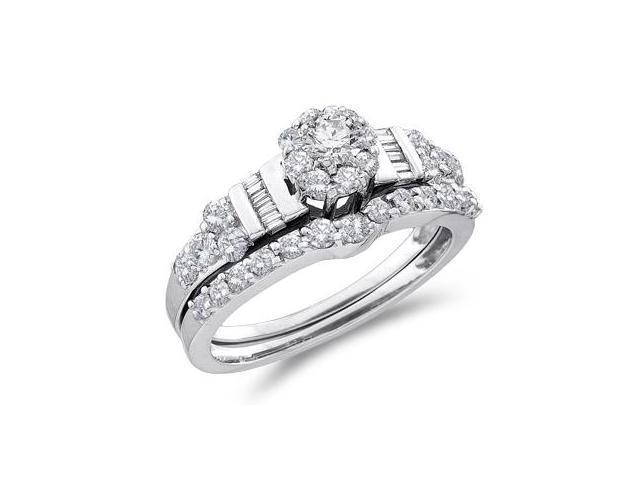 Diamond Engagement Ring Set Wedding 14k White Gold Bridal (1.06 Carat)