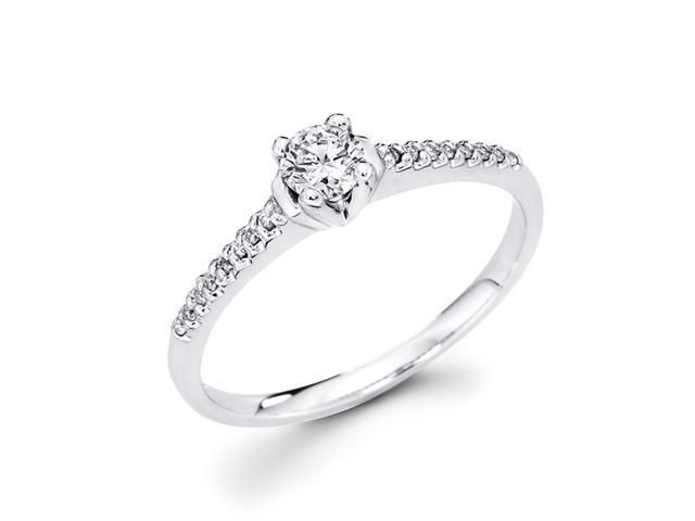 Bridal Diamond Engagement Ring Round Solitaire 14k White Gold (1/3 CT)