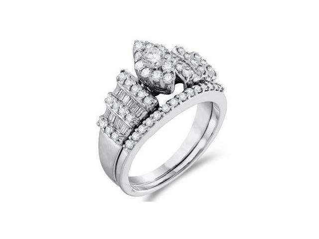 Diamond Engagement Ring Set Wedding 14k White Gold Marquise (1.03 CTW)