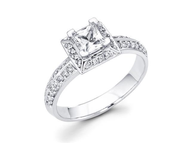Women's Engagement Diamond Ring Princess Bridal 14k White Gold (2/3ct)