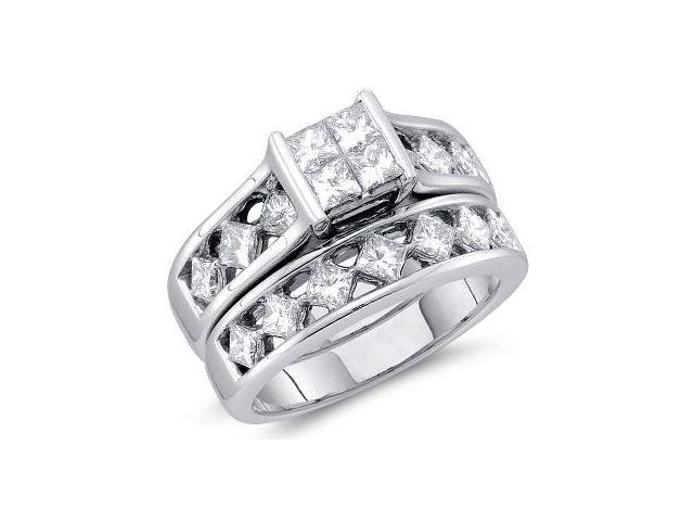 Princess Diamond Engagement Rings Set Wedding 14k White Gold (1.99 CT)