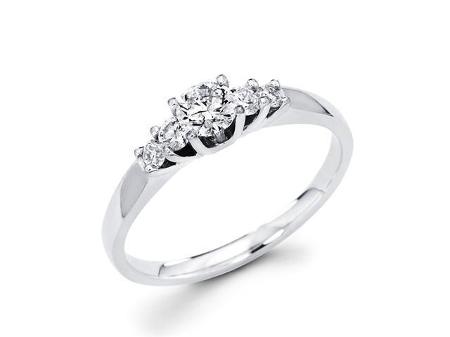 Diamond Engagement Ring Round 14k White Gold Bridal (1/4 Carat)