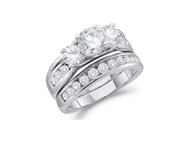Three Stone Diamond Engagement Ring Set 14k White Gold (2.50 Carat)