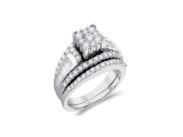 Diamond Engagement Ring Set Wedding Band 14k White Gold Bridal 1.47 CT