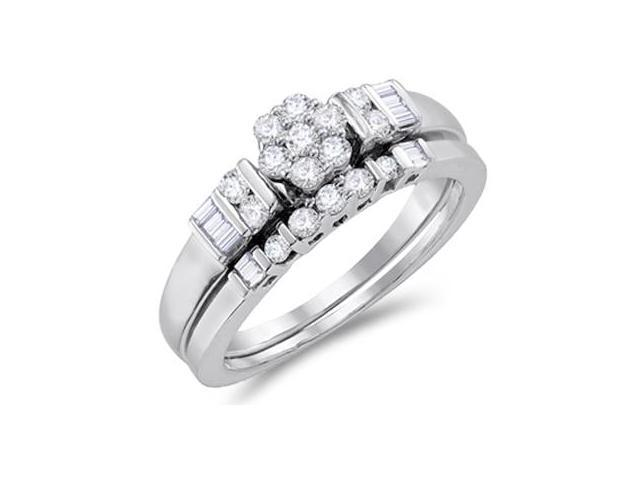 Diamond Engagement Ring & Wedding Band 14k White Gold Bridal (1/2 ctw)