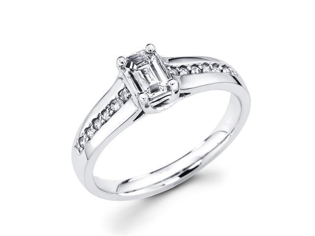 Emerald Diamond Engagement Ring 14k White Gold Bridal (5/8 Carat)
