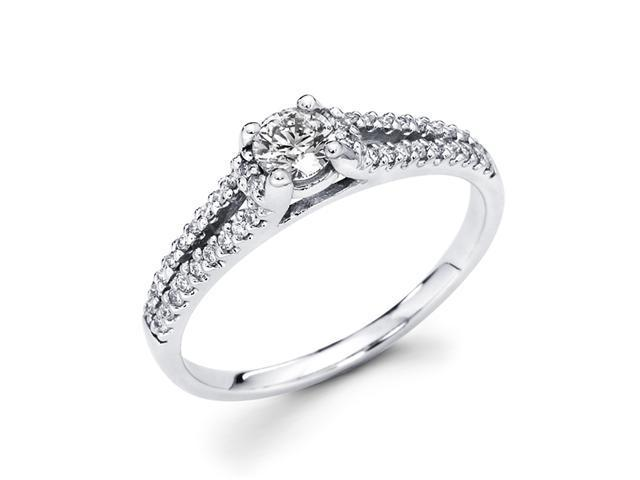 Round Diamond Engagement Ring 14k White Gold Bridal (1/2 Carat)