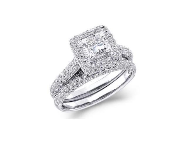 Diamond Engagement Ring Wedding Set 14k White Gold Bridal (1.25 Carat)