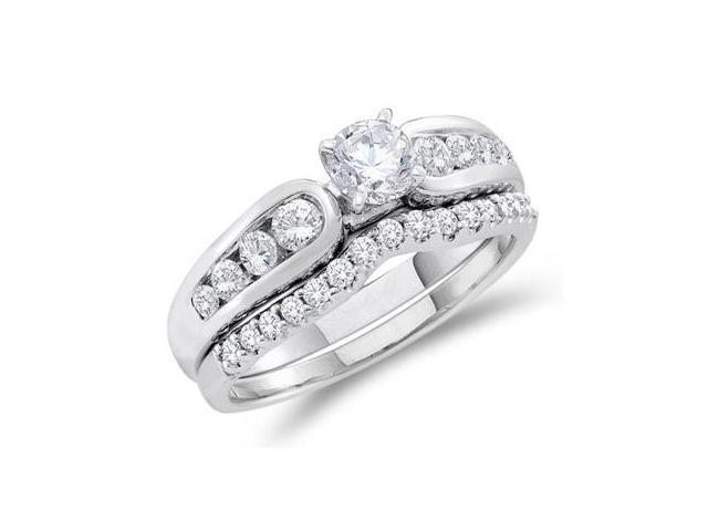 Diamond Engagement Ring & Wedding Band 14k White Gold Bridal (1.00 ct)